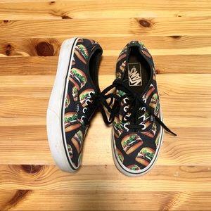 VANS Black Burger Print Lace Up Sneakers